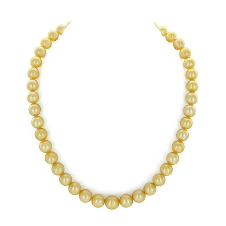 "14K Gold 9-11mm Golden South Sea Cultured Pearl Necklace - AAA Quality, 16"" Choker Length"