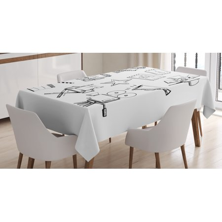 Movie Theater Tablecloth, Sketchy Movie Icon Set in Black and White Entertainment Industry Media TV, Rectangular Table Cover for Dining Room Kitchen, 52 X 70 Inches, Black White, by