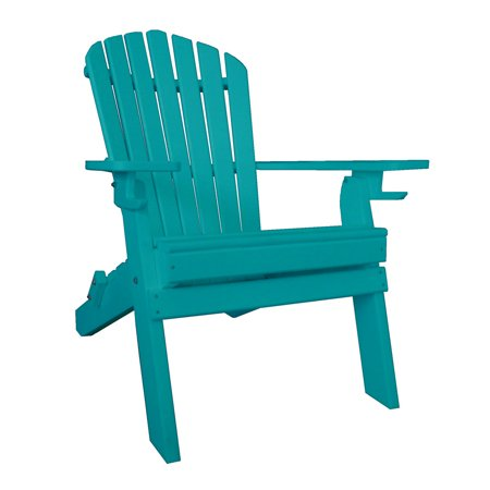 Furniture Barn USA™ Poly Recycled Plastic Folding Adirondack Chair with 2 Cupholders ()
