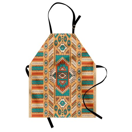 Tribal Apron Ethnic Aztec Secret Tribe Pattern in Native American Bohemian Style, Unisex Kitchen Bib Apron with Adjustable Neck for Cooking Baking Gardening, Apricot Orange and Teal, by Ambesonne