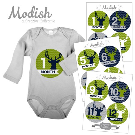 Monthly Baby Stickers, Boy, Deer, Antlers, Woodland, Lime Green, Navy Blue, Baby Photo Prop, Baby Shower Gift, Baby Book Keepsake, Modish