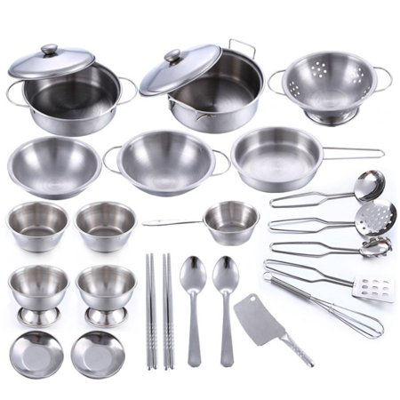 25pcs Kids Pretend Food Play Kitchen Toys Cooking Set Stainless
