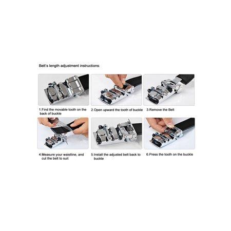 """Men Automatic Buckle Business Ratchet Leather Belt Width 1 3/8"""" Black 160cm - image 5 of 6"""