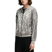 Womens Jacket Silver Bomber Full-Zip Sequin Rib-Trim $139 XS