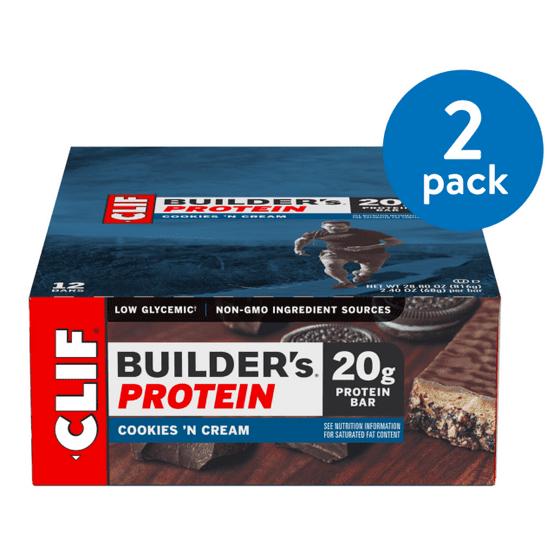 Clif Builder's Protein Bar, Cookies 'N Cream, 20g Protein, 12 Ct