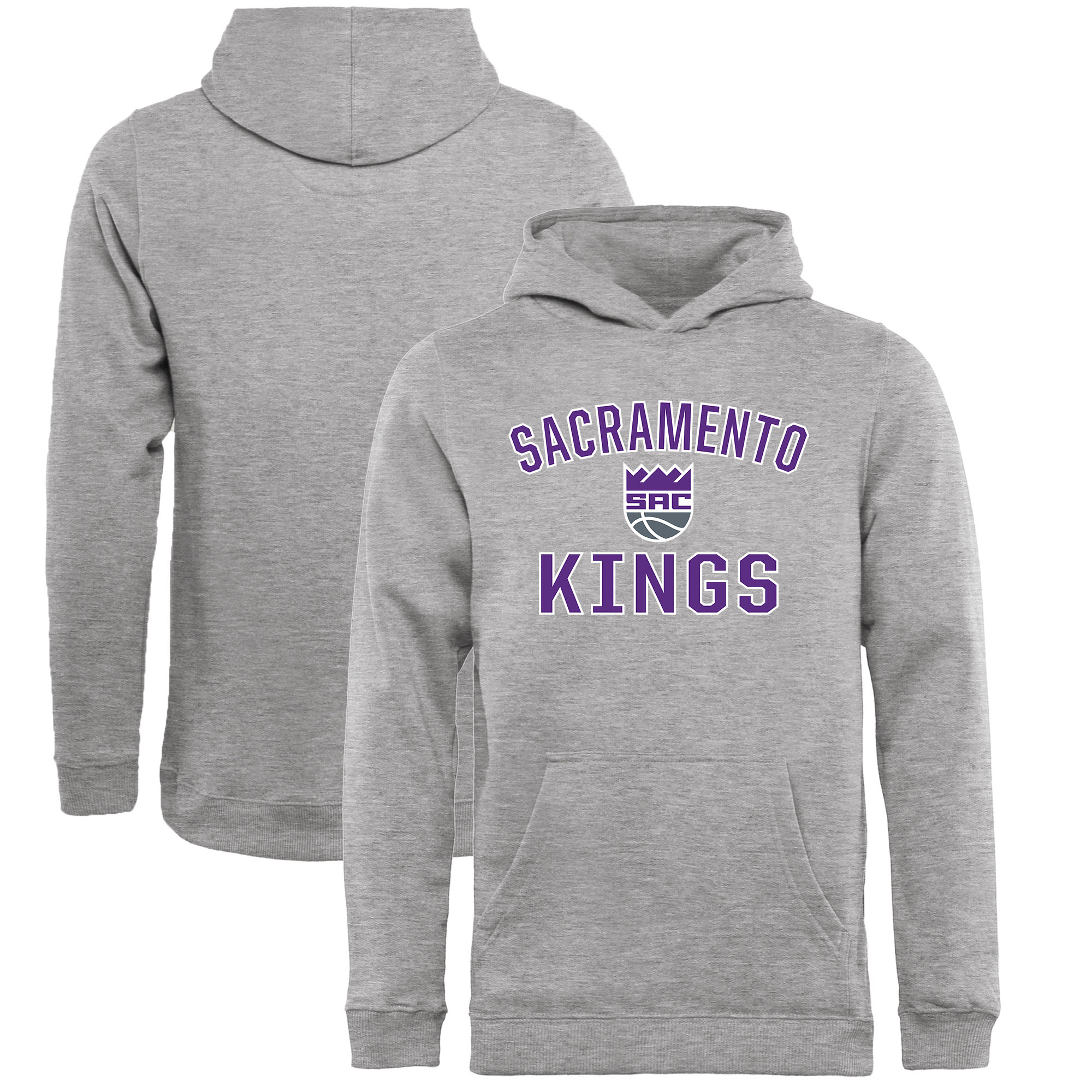 Sacramento Kings Fanatics Branded Youth Victory Arch Pullover Hoodie - Heathered Gray