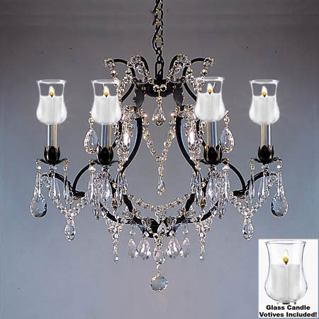 "Gallery Crystal Chandelier W/ Candle Votives H19"" W20"""