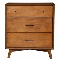 Flynn Mid Century Modern 3 Drawer Small Chest in Acorn Finish