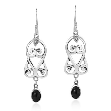 Simulated Black Onyx Graceful Swirl Sterling Silver Dangle Earrings