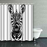 ARTJIA Good Zebra Smiling Black And White Face Sketch Shower Curtain Polyester Bathroom Curtain 60x72 inches - White Smiling Face