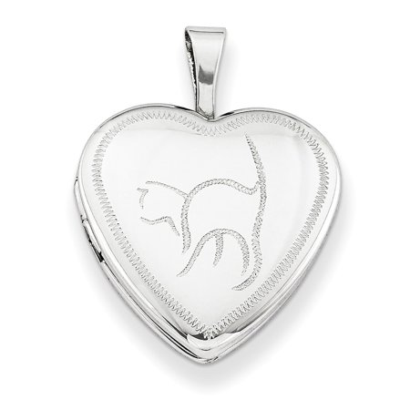 Sterling Silver 16 MM Cat Heart - Cat Locket