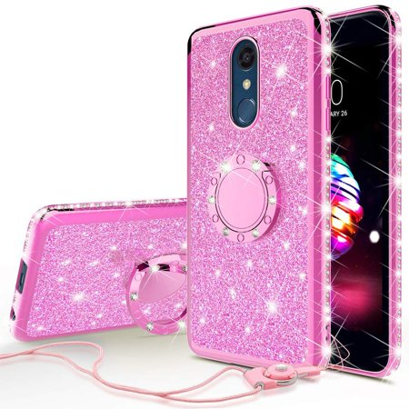 new arrivals 44b5c 7d384 LG Stylo 4 Case, LG Stylo 4 Plus Case, LG Q Stylus Case, SOGA Glitter  Diamond Rhinestone TPU Phone Cover with Ring Stand and Lanyard Girls Women  Cover ...