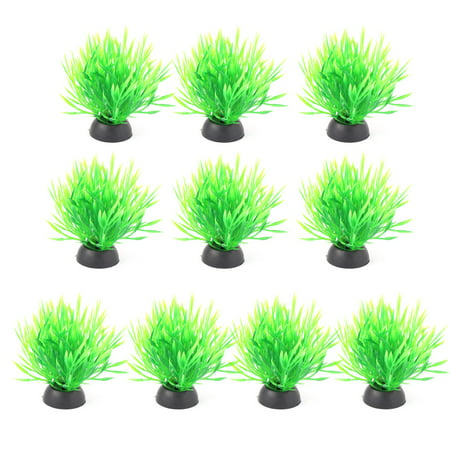Unique BargainsAquarium Plastic Fish Tank Plant Ornament Grass Vivid Decoration Green 10pcs