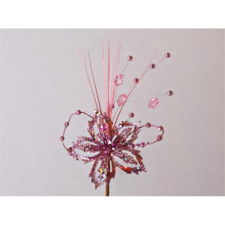 Winterland WL-PCK13-PS-PI Pink Glittered Poinsettia Pick With (Pink Poinsettia)
