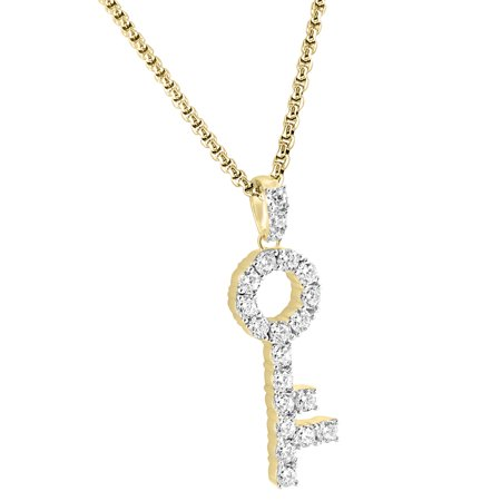 Major Key Design Pendant Solitaire Lab Created Cubic Zirconias 14K Gold Finish 925 Silver Free Chain
