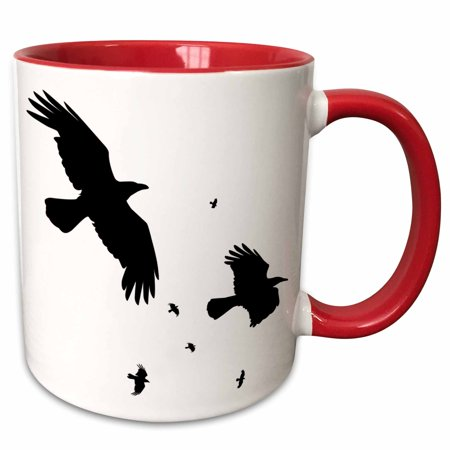 3dRose A Murder of Crows- animal, bird, birds, crow, halloween, myth, mythological, mythology, silhouette - Two Tone Red Mug, 11-ounce](Halloween Murders)