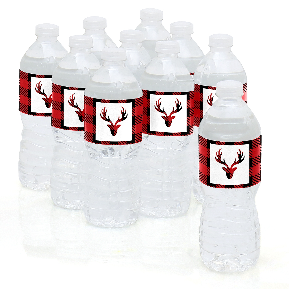 Prancing Plaid - Christmas & Holiday Buffalo Plaid Party Water Bottle Sticker Labels - Set of 10
