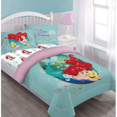 Disney Comforter Sets (Disney 4pc ARIEL Sea Dreams Bedding Set, Licensed Full Comforter W/Fitted Sheet And)
