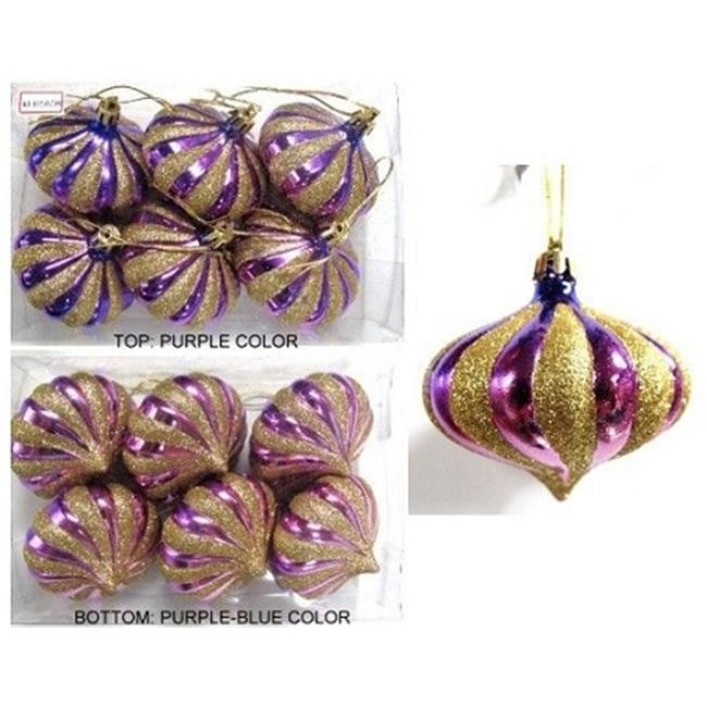 Queens of Christmas WL-ONION-G-6PK-PU/BL WL-ONION-G-6PK-PU/BL - Two Toned Purple to Blue with Gold Glitter 2. 75'' Onion