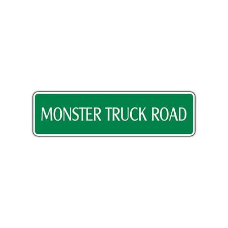 Monster Truck Road Racing Aluminum Metal Novelty Street Sign Gift Wall Art Décor 4x13.5 (Street Rod Racing)