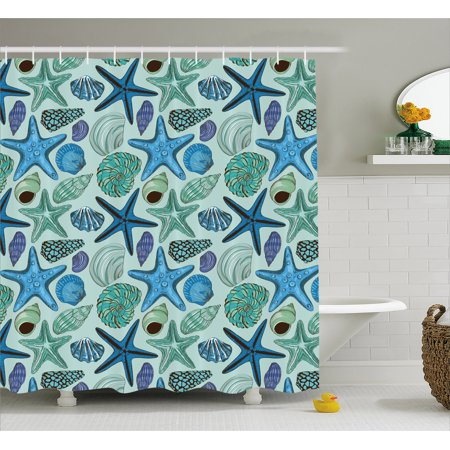 Starfish Shower Curtain, Aquarium Inspired Composition Tropical ...