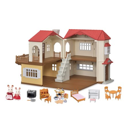 Calico Critters Red Roof Country Home Gift Set, Ready to Play with 2 Figures and