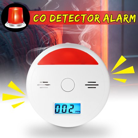 2 in 1 LCD Carbon Monoxide Alarm Gas Fire Sensor CO Detector Sound & LED Flash Alarm Combo Detector Tester Monitor Battery Operated with Digital Display