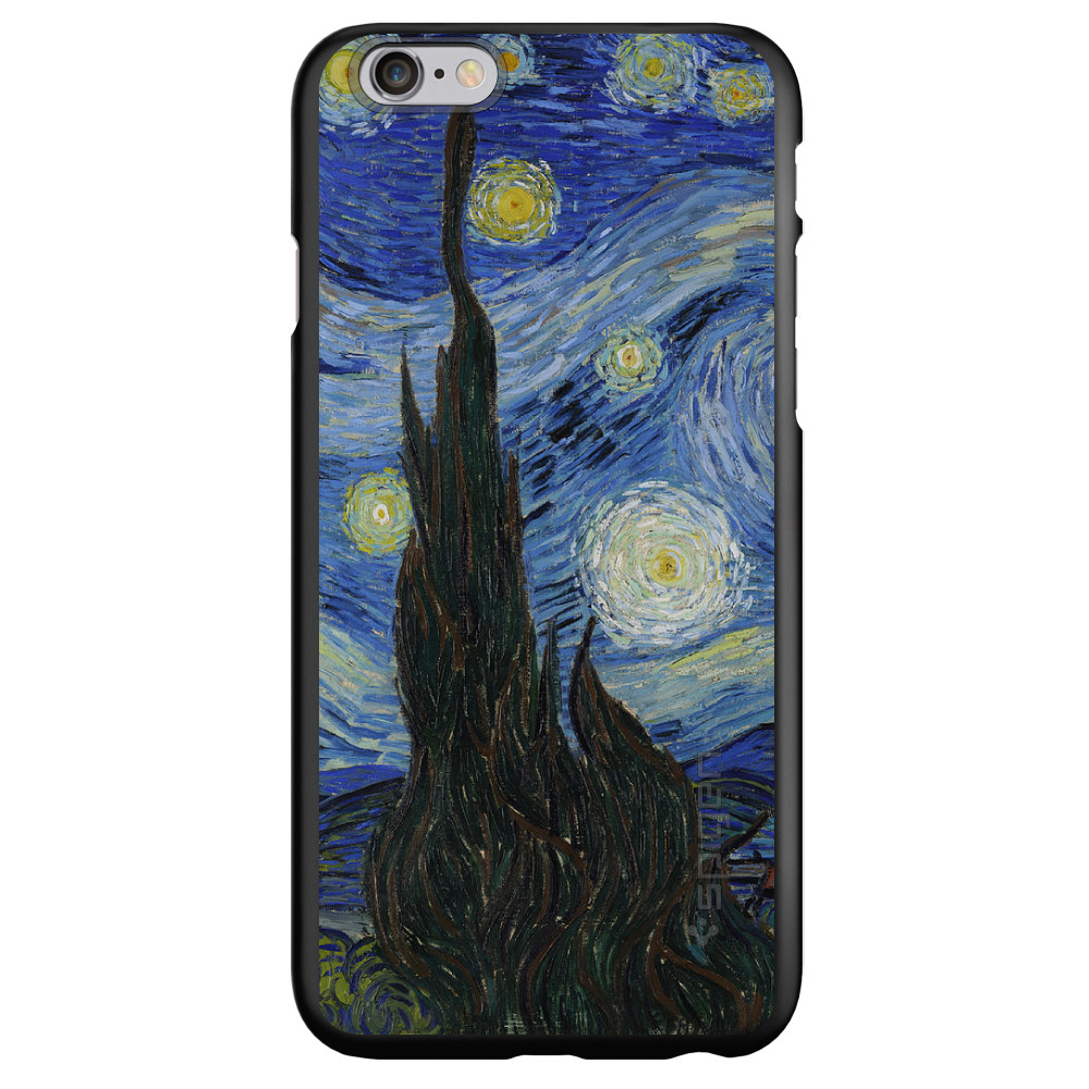 "CUSTOM Black Spigen Thin Fit Case for Apple iPhone 6 PLUS / 6S PLUS (5.5"" Screen) - Van Gogh Starry Night"