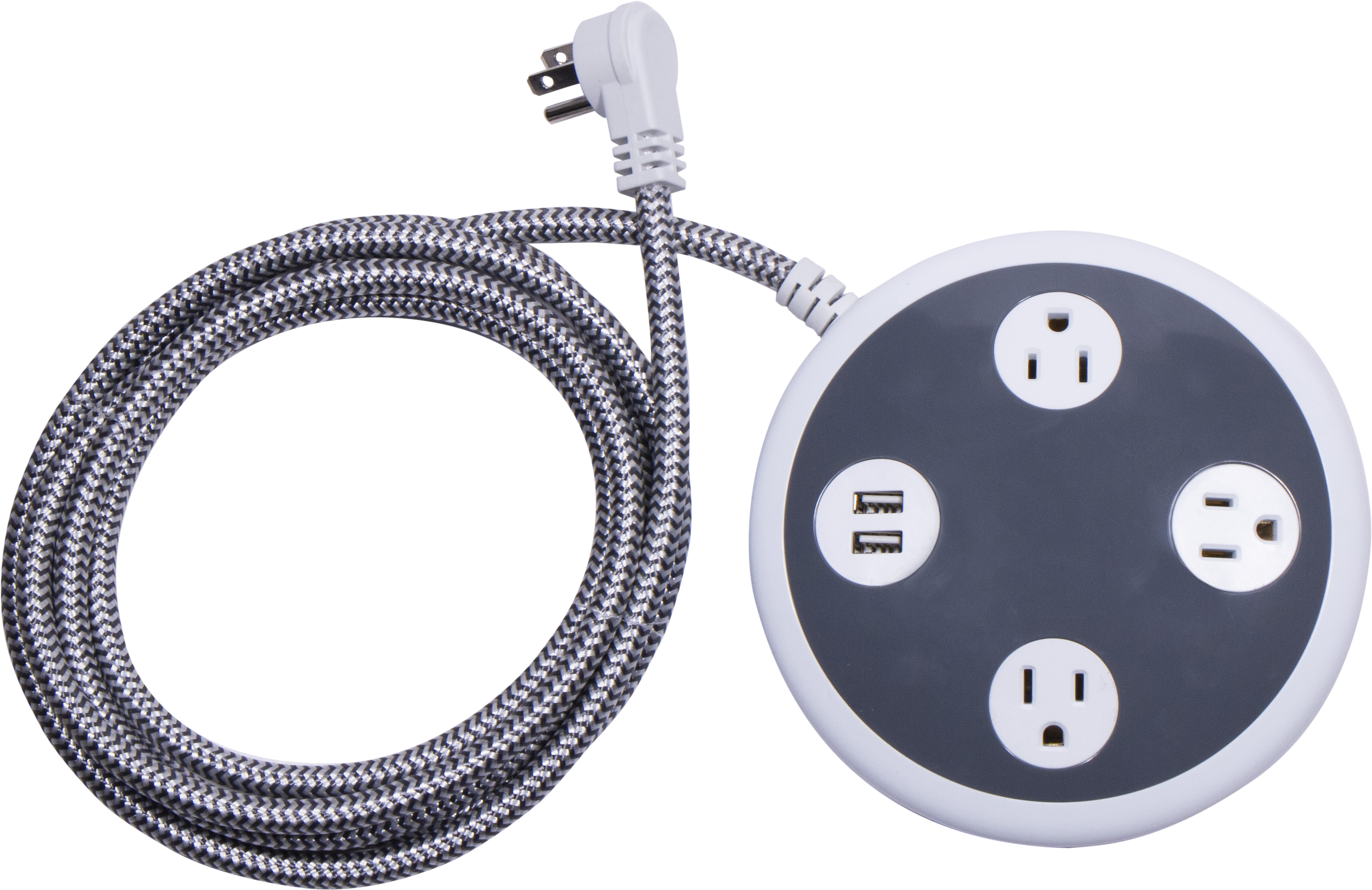 GE Pro 3-Outlet Power Center Extension Cord, 2-Port USB Charging, 8-Foot Cord, Surge Protection, 41386
