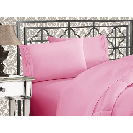 Elegant Comfort®  Silky-Soft 1800 Series  - Wrinkle-Free 3-Piece Bed Sheet Set, Deep Pocket up to 16 inch, Twin Light Pink