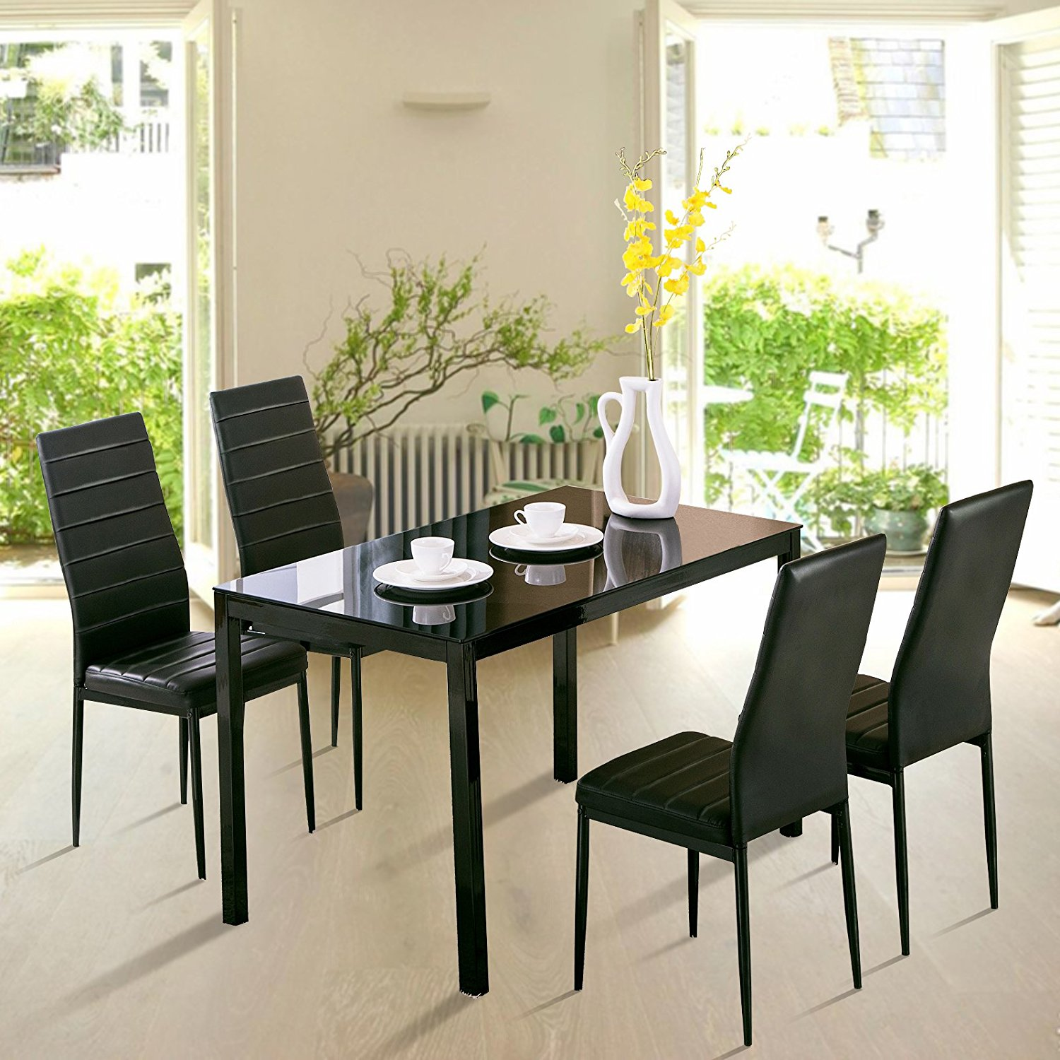 Uenjoy 5 Piece Dining Table Set 4 Chairs Glass Metal Kitchen Room Breakfast & 5 Piece Dining Sets