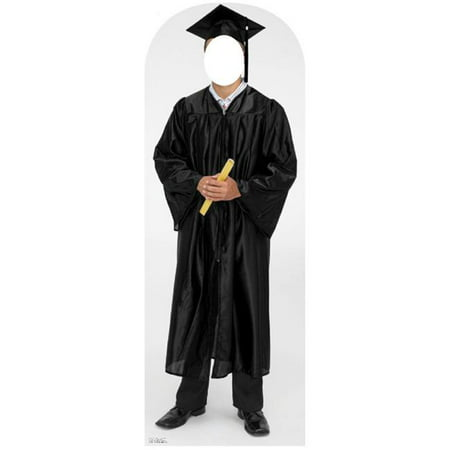 Male Graduate Black Cap And Gown Standing Life-Size Cardboard Stand-Up