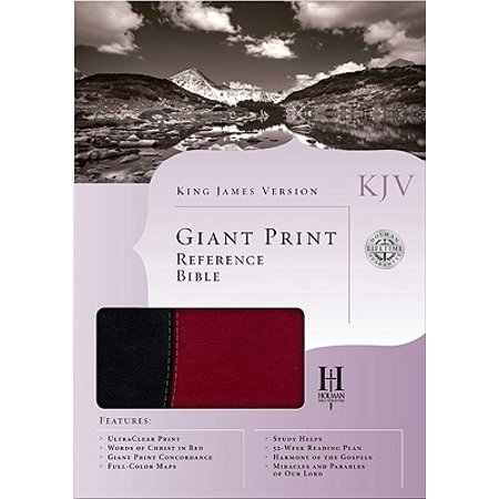 KJV Giant Print Reference Bible, Black/Burgundy Simulated (Sewn Simulated Leather)