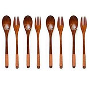 Wooden 9 inch Japanese Spoon Fork Set Kitchen Tableware Dinnerware Flatware Natural Wood Cutlery Wooden Dinner Utensil Set, 4 Spoons and 4 Forks (Brown Tied Line)