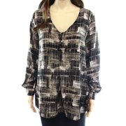 Valette NEW Black Gray Women's Size Large L Graphic Printed Henley Blouse
