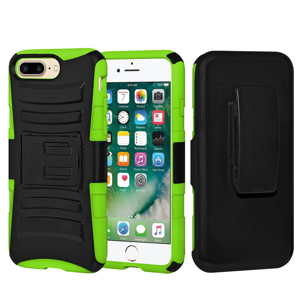 iPhone 7 Plus Case Tempered Glass Combo Kit, Rugged TUFF Hybrid Dual Layer Hard Defender Case with Belt Clip Holster and Premium Protective Shockproof Screen Guard for iPhone 7 Plus,Black/Neon Green