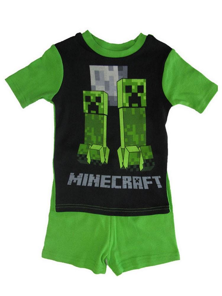 Minecraft Little Boys Green Short Sleeve 2 Pc Pajama Set