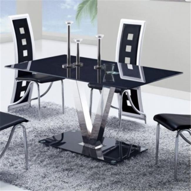 Global Furniture Glossy Black Dining Table With Silver V-Shape Base 55x34x30 Inch