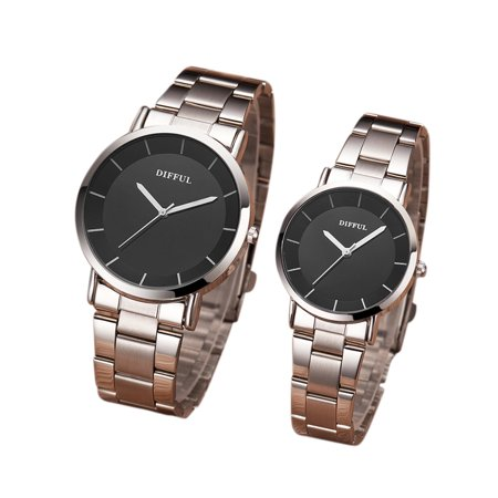 Lovers Stylish Alloy Business Quartz Watch Sports Wristwatch Ornament Gift Men's steel belt black face (Lovers Quartz Wrist Watch)