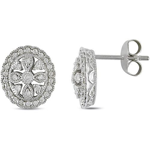 Miabella 1/3 Carat T.W. Diamond Sterling Silver Stud Earrings