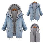 Fashion Womens Autumn Winter Warm Collar Hooded Denim Jacket Trench Parka Outwear Casual Shirt