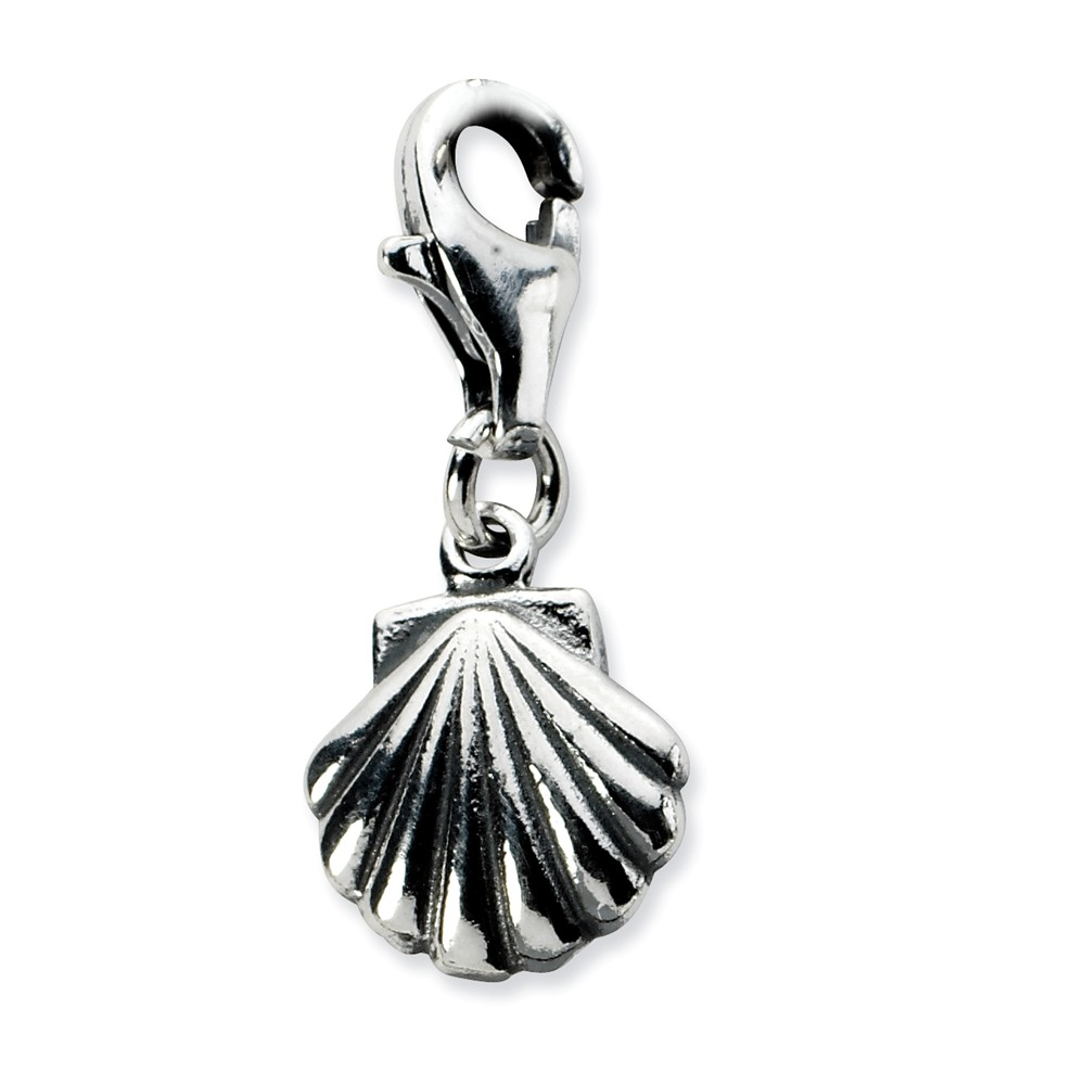 Sterling Silver Antiqued Clam Shell with Lobster Clasp Charm (0.4in)