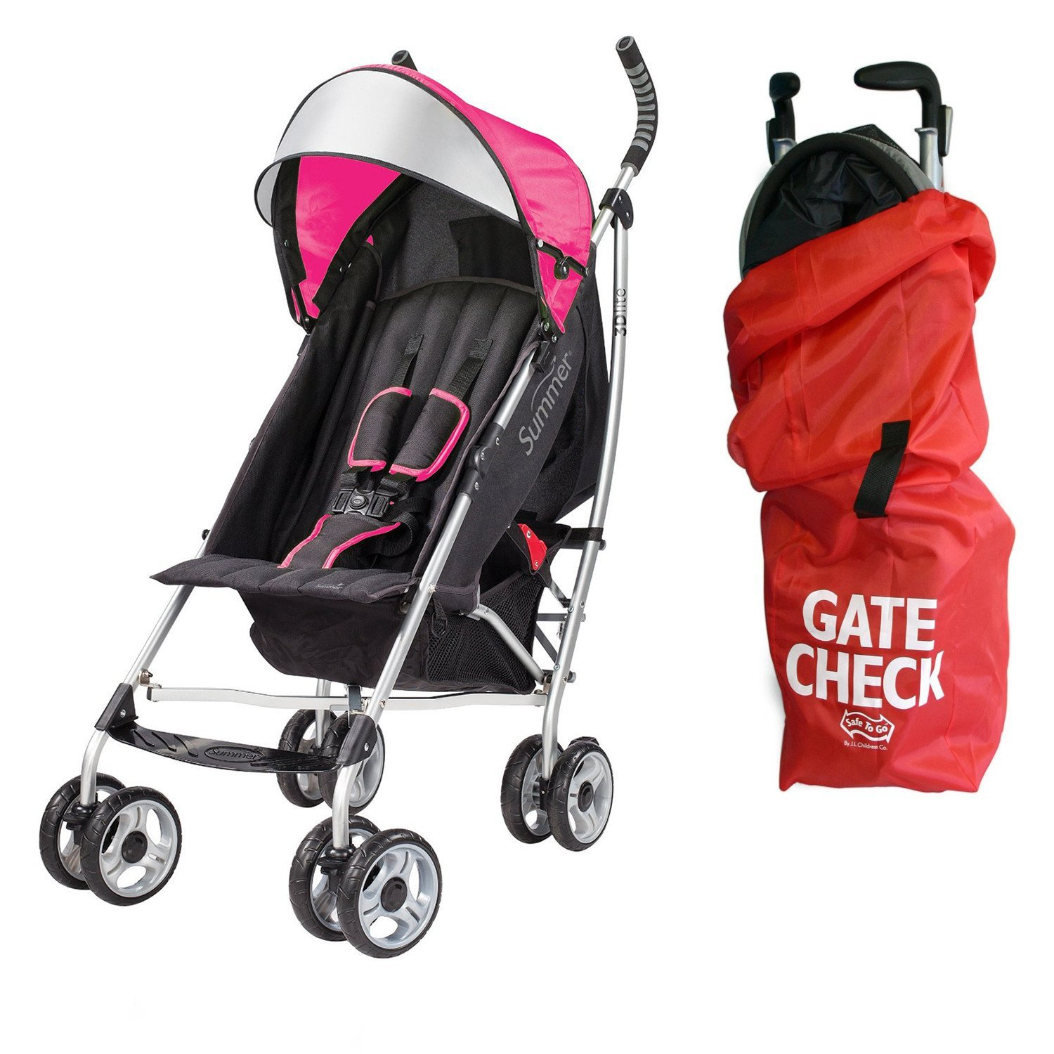 Summer Infant 3D Lite Convenience Stroller with Airport Gate Check Travel Bag, Pink