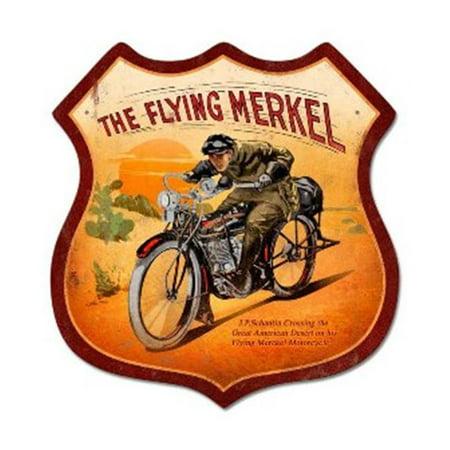 Past Time Signs RD019 Flying Merkel Motorcycle Shield Metal Sign - Flying Merkel
