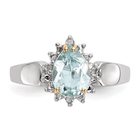 Sterling Silver Sterling Silver & Sky Blue Topaz & Diamond Ring - image 2 of 5