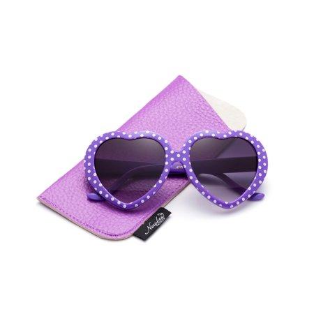 927671ffca Newbee - Newbee Fashion-Kids Heart Sunglasses Girls Heart Shaped Sunglasses  Polka Dots Cute Vintage Look UV Protection w Carrying Pouch - Walmart.com