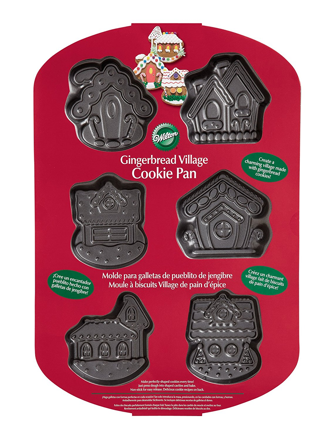 6 Cavity Gingerbread Village Cookie Pan, 6 Cavity By Wilton by
