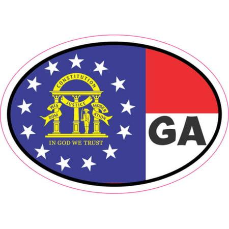- 3in x 2in Oval GA Georgia Flag Sticker Vinyl Flags State Bumper Stickers