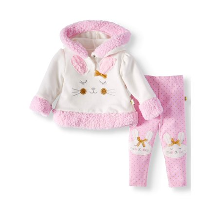 Baby Girls' Fur Trim Fleece Hoodie and Joggers, 2-Piece Outfit Set