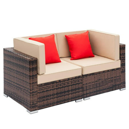 Ktaxon 2pcs Outdoor Patio Sofa Furniture Wicker Rattan Deck Couch Arm Single Sofa ()